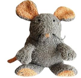 Badstof muis met piep grijs