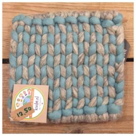 Bleu-grijs vierkant 22 cm