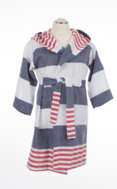 Kinderbadjas marineblauw-rood