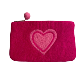Portemonnee/etui vilt cyclaam met roze hart
