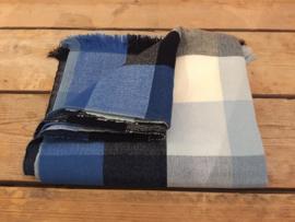 Katoenen picknick-/tafelkleed blauw-wit-grijs blok