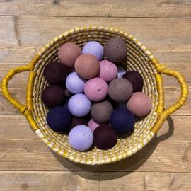 Cotton Ball lichtslinger 35 ballen lavendel-roze-beige 31