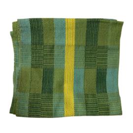 Handgeweven colsjaal groen-turquoise-geel