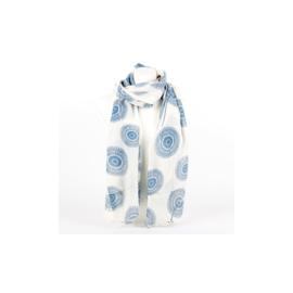 Sjaal circle creme-blauw