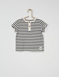 T-shirt met knoopjes voorzijde wit-blauw gesptreept