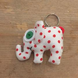 Sleutelhanger olifant wit-rode stip katoen