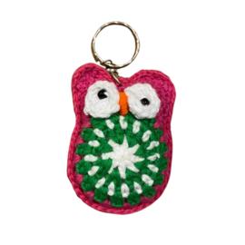 Sleutelhanger uil roze/groen
