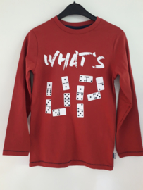Longsleeve WHAT'S UP rood (mt 128 tm 164)