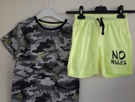 Shirt NO RULES neon-geel mt 128 tm 164