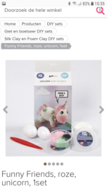 Unicorn roze - silk/foam clay DIY set