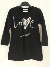 Jurk LOVE zwart (mt 4 tm 14)