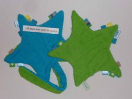 Labeldoekje STER met speenkoord turquoise/groen