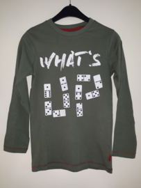 Longsleeve WHAT'S UP legergroen (mt 128 tm 164)