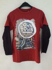 Longsleeve DOWN TOWN rood (mt 92 tm 164)