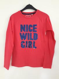Longsleeve NICE WILD GIRL roze (mt 128 tm 164)