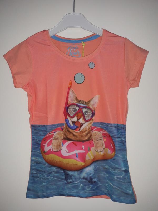 Shirt POESJE roze/oranje mt 92/98 tm 128/134