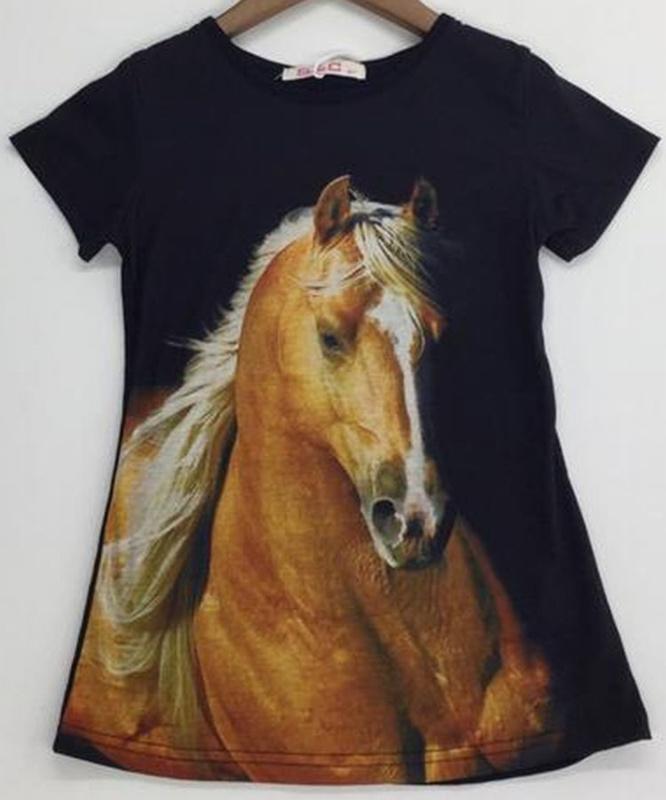 T-shirt/tuniek PAARD zwart mt 2 tm 12