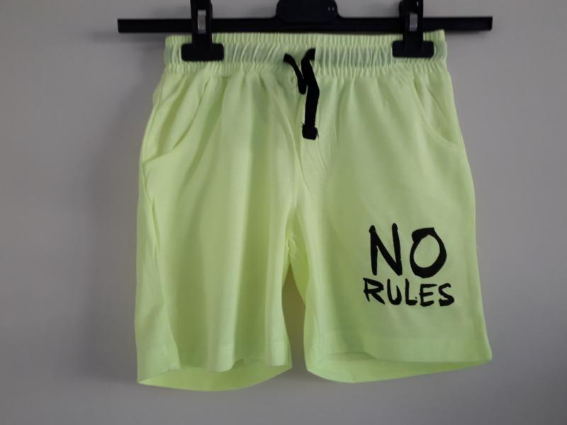 Short NO RULES neon-geel mt 128 tm 164
