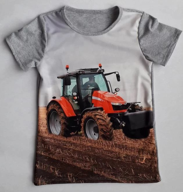 Trekker shirt grijs (rode trekker) mt 8 tm 16
