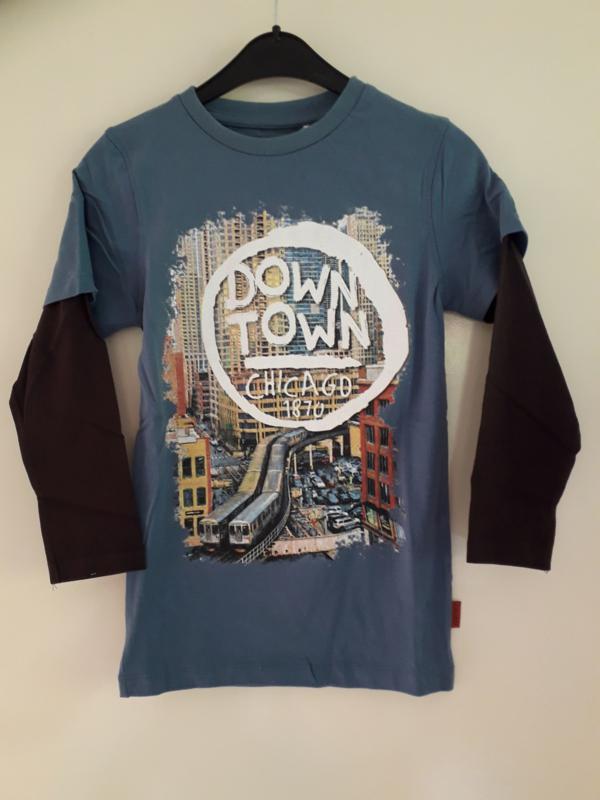 Longsleeve DOWN TOWN blauw (mt 92 tm 164)