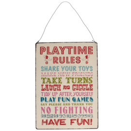 Playtime Rules tekstbord