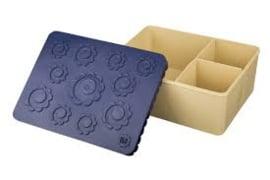 Lunchbox Groot donkerblauw/ beige Flowers - Blafre