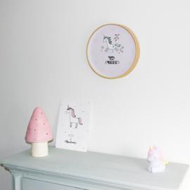 Kinderklok Unicorn Lichtroze