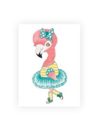 Ansichtkaart luxe, Froukje de flamingo