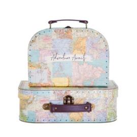 Kofferset Vintage landkaart - Sass & Belle