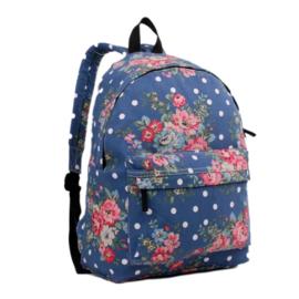 Rugzak Flower Polkadot Blauw  - Miss Lulu