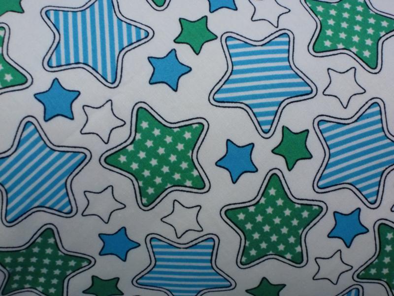 """Voedingskussenhoes """"Blauw en groene sterren"""""""