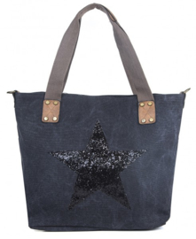 Trendy shopper canvas tas met ster Zwart