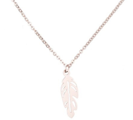 NECKLACE FEATHER - / ROSÉ GOLD
