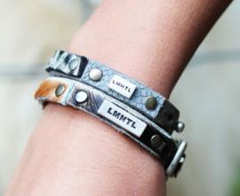 LMNTL - Lederen armband small cool studs grijs