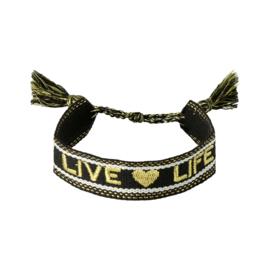 Trendy armband live life zwart