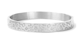 Bangle panter print breed zilver