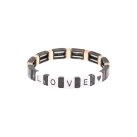 Armband metalen kralen zwart love