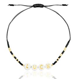 """Trendy Armband """"LUCK"""" Zwart - Goud"""