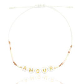 "Trendy Armband ""AMOUR"" Beige-Roze - Goud"