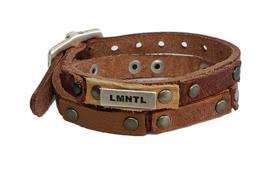 LMNTL - Lederen armband heavy studs Cognac