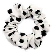 SCRUNCH HAARELASTIEK - /	DOTS PRINT OFF-WHITE