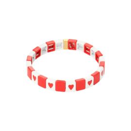 Armband metalen kralen hartjes rood