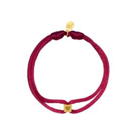 Armband van  satijn met hart roze