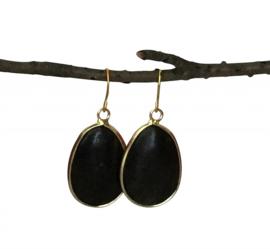Oorbellen gemstone zwart