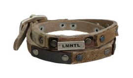 LMNTL - Lederen armband heavy studs Taupe