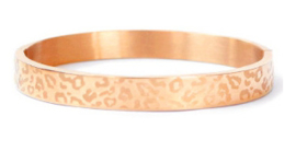 Bangle panter print breed rosé goud