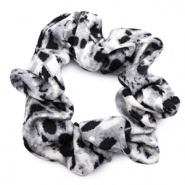 SCRUNCHIE HAARELASTIEK - /	SNAKE PRINT BLACK-GREY