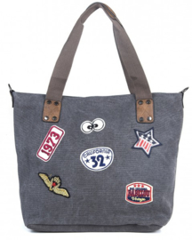 Trendy shopper canvas tas Donker Grijs