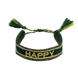 Trendy armband happy groen