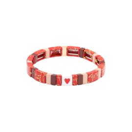 Armband metalen kralen rood